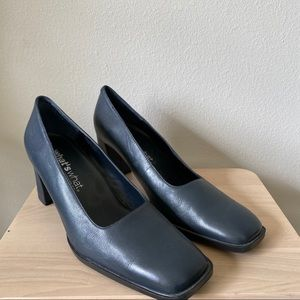 [Vintage] Blue Square Toe Block Heels